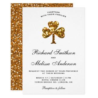 セントパトリックの日の金ゴールドのクローバーの結婚式招待状 カード
