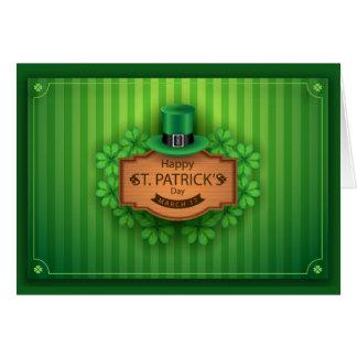 セントパトリックの日は-帽子及びクローバー-カスタマイズ カード
