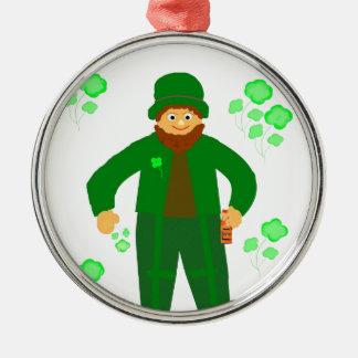 セントパトリックの日、緑の小妖精 メタルオーナメント