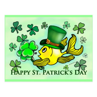 セントパトリックの緑のシャムロックの幸運なアイルランドの金魚 ポストカード