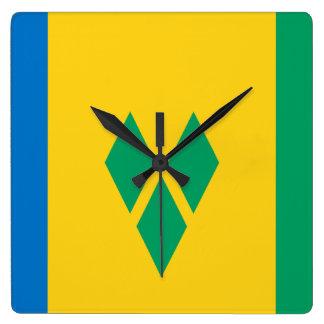 セントビンセント・グレナディン諸島の旗 スクエア壁時計