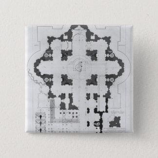 セントピーターのバシリカ会堂の計画 5.1CM 正方形バッジ