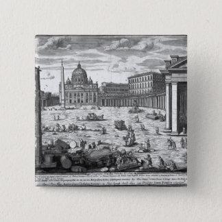 セントピーター、ローマの眺め 5.1CM 正方形バッジ