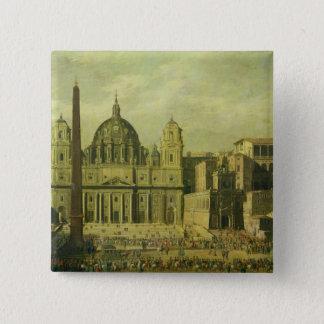 セントピーター、ローマ1630年(キャンバスの油) 5.1CM 正方形バッジ