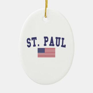 セントポール米国の旗 セラミックオーナメント