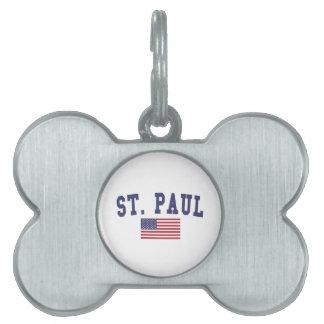 セントポール米国の旗 ペットネームタグ