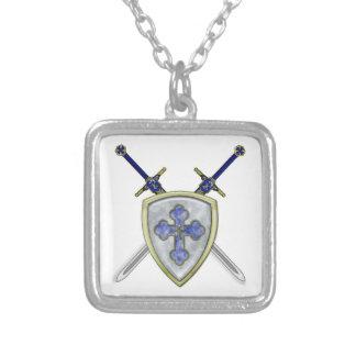 セントマイケル-剣および盾 シルバープレートネックレス