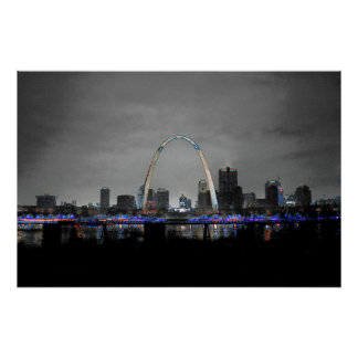 セントルイスのスカイラインの芸術B/W w/selective色ポスター ポスター