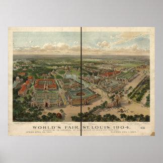 セントルイスの1904年の万国博覧会の博覧会のアンティークのパノラマ ポスター