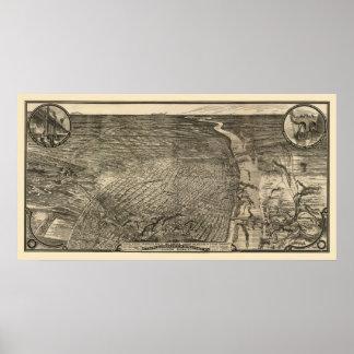 セントルイスのMOのパノラマ式の地図- 1876年 ポスター