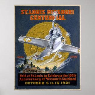 セントルイスミズーリの百年祭1921年 ポスター