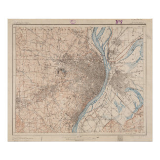 セントルイスミズーリ(1904年)のヴィンテージの地図 ポスター