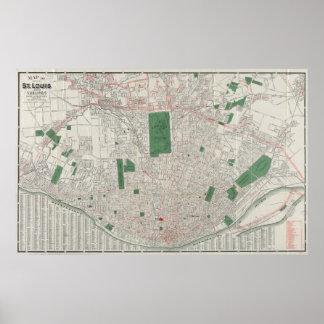 セントルイスミズーリ(1921年)のヴィンテージの地図 ポスター
