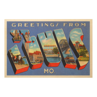 セントルイスミズーリMOの古いヴィンテージ旅行記念品 ウッドウォールアート