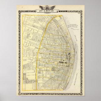 セントルイス都市の地図 ポスター