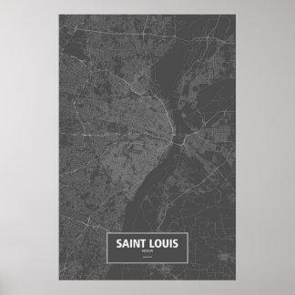 セントルイス、ミズーリ(黒で白い) ポスター