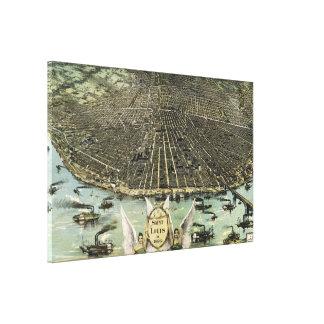 セントルイス(1896年)のヴィンテージの絵解き地図 キャンバスプリント
