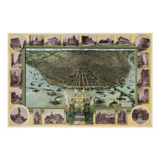 セントルイス(1896年)のヴィンテージの絵解き地図 ポスター