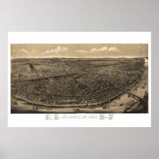セントルイスMo -空中写真の地図1859年 ポスター