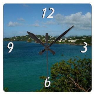 セントルシアのカリブのな休暇の写真の海岸 スクエア壁時計