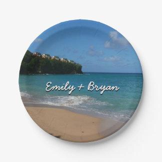 セントルシアのビーチの熱帯休暇の景色 ペーパープレート