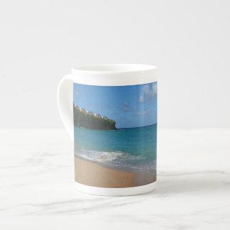 セントルシアのビーチの熱帯休暇の景色 ボーンチャイナカップ
