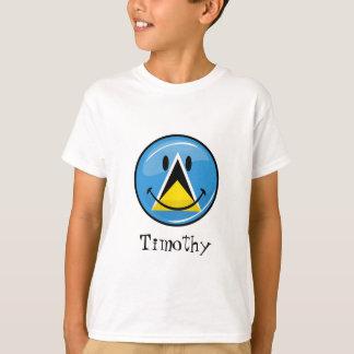 セントルシアの光沢のある円形の微笑の旗 Tシャツ