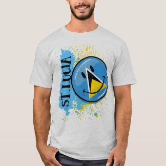 セントルシアの微笑の旗のしぶき Tシャツ