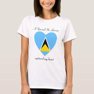 セントルシアの旗の恋人のTシャツ Tシャツ