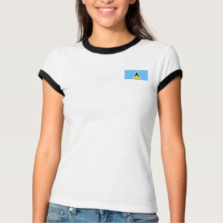 セントルシアの旗 + 地図のTシャツ Tシャツ