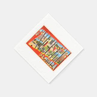 セント・オーガスチンフロリダFLのヴィンテージ旅行記念品 スタンダードカクテルナプキン