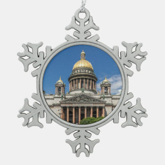 セント・ピーターズバーグロシアの聖者のアイザックのカテドラル スノーフレークピューターオーナメント