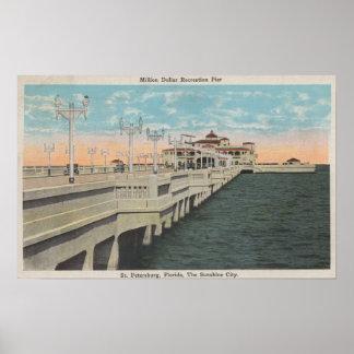 セント・ピーターズバーグ、フロリダ-百万ドルの眺め ポスター