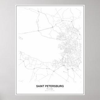 セント・ピーターズバーグ、ロシアのミニマリストの地図 ポスター
