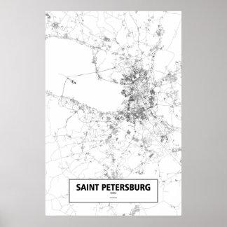 セント・ピーターズバーグ、ロシア(白の黒) ポスター