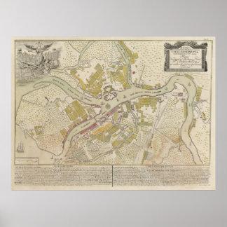 セント・ピーターズバーグ、1737年からのロシアの地図 ポスター