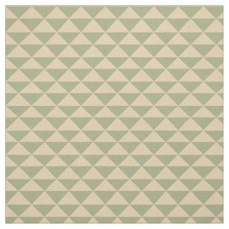 セージグリーンおよびクリームの茶三角形 ファブリック