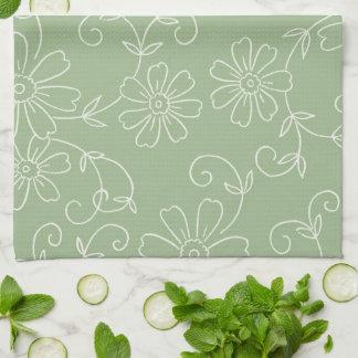 セージグリーンのクリームの花の台所布タオル キッチンタオル