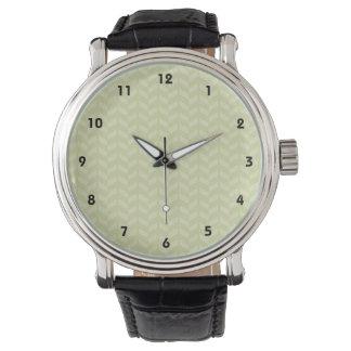 セージグリーンのレトロパターン 腕時計