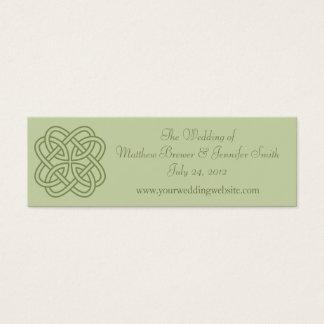 セージグリーンの結婚式のウェブサイトの情報カード スキニー名刺