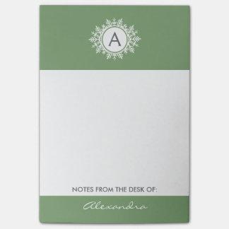 セージグリーンの華美で白い雪片のモノグラム ポストイット