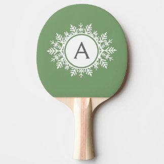 セージグリーンの華美で白い雪片のモノグラム 卓球ラケット