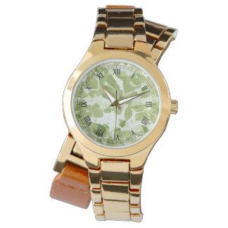 セージグリーンの葉パターン、インスパイアヴィンテージ 腕時計