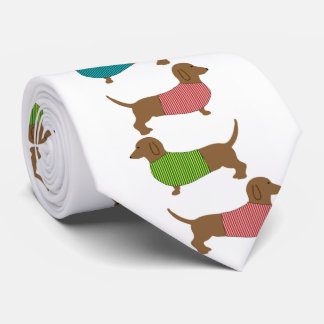 セーターパターンおもしろいのダックスフント犬 オリジナルネクタイ