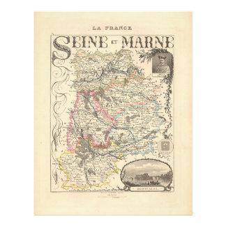 セーヌ河とマルヌ部、フランスの1858地図 チラシ