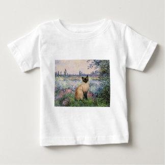 セーヌ河によって-ポイントシャム猫を密封して下さい ベビーTシャツ