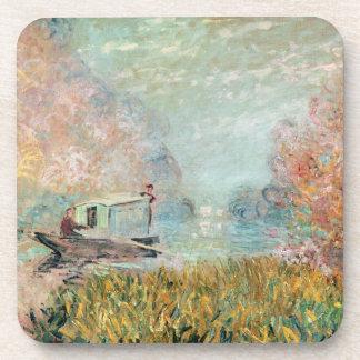 セーヌ河のクロード・モネ|のボートのスタジオ コースター