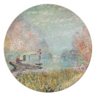 セーヌ河のクロード・モネ|のボートのスタジオ プレート