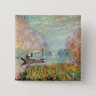 セーヌ河のクロード・モネ|のボートのスタジオ 5.1CM 正方形バッジ