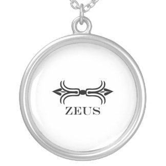 ゼウスの稲妻(彫刻家のフォント) シルバープレートネックレス